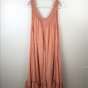 New Free People Gauzey Pink and Gold Maxi